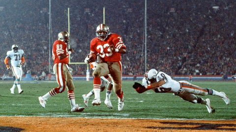 Super Bowl XIX: Roger Craig high-stepping into the end zone