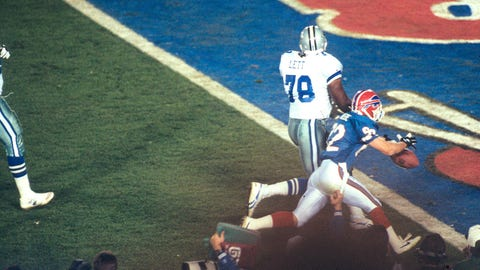 Super Bowl XXVII: Leon Lett gets stripped by Don Beebe