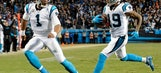 THE LATEST: Newton's 85-yard TD pass puts Carolina up 17-0