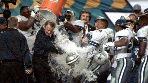 What color will the liquid be that is poured on the winning coach?