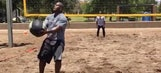 The Steelers are playing beach volleyball with a massive medicine ball
