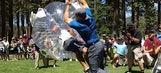 Watch linebacker A.J. Hawk level a fan in a bubble suit