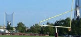 A powerful storm wrecked a goalpost at Redskins camp