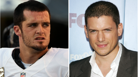 Derek Carr (Raiders) and Wentworth Miller
