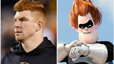 "Andy Dalton (Bengals) and Syndrome from ""The Incredibles"""