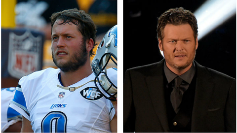 Matthew Stafford (Lions) and Blake Shelton