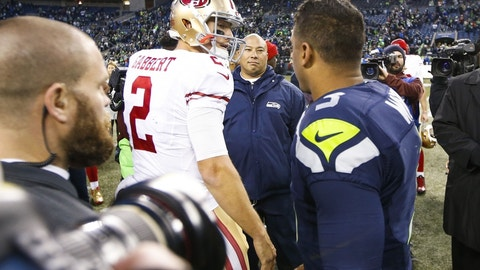SEAHAWKS (-9.5) over 49ers (Over/under: 40)