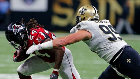 Falling: New Orleans Saints DE Paul Kruger