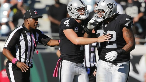 Oakland's offensive line will protect Derek Carr