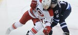 Hurricanes score 4 goals in first, hold on to beat Jets 5-3