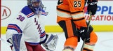Rangers win 3-2 in shootout to end Flyers' streak