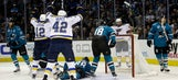 Goalie change pays off, Blues beat Sharks to even West final
