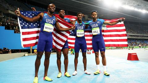 LaShawn Merritt, Gil Roberts, Tony McQuay, Arman Hall - men's 4x400 meter relay