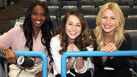 Bishara, Sage and Chyna check out the view from Section 213 before heading to the sidelines for a Bucks Live appearance.