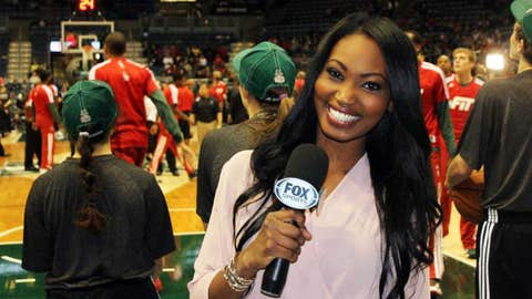 Bishara informing viewers about a special ticket offer courtesy of FOX Sports Wisconsin during the Bucks vs. Bulls telecast.