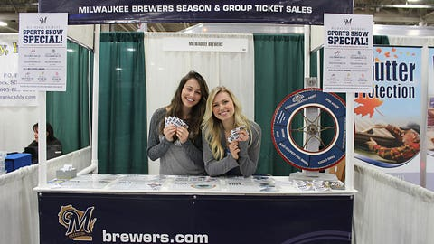 Sage and Chyna stop by the Brewers booth to check out the ticket deals available this season.