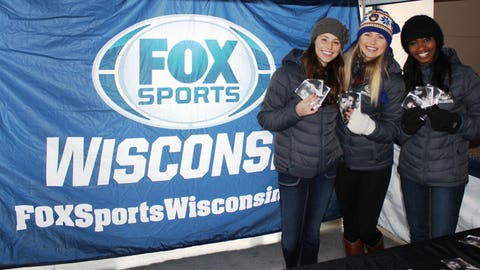 Sage, Chyna and Bishara brought Almost Human hand warmers for all the awesome fans who braved the cold.