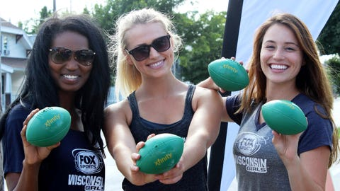 Bishara, Chyna and Sage all agree that these footballs are the perfect colors.