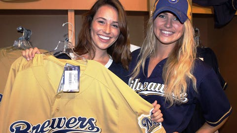 Sage & Chyna check out jerseys at the Brewers Team Store.