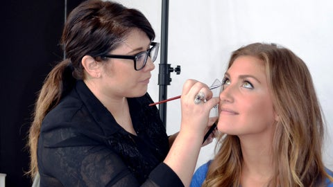 Jennifer gets a quick touch up before her first photo shoot as a FOX Sports North Girl.