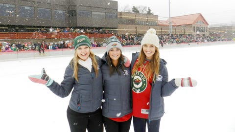 Checking out the rink before the Wild hit the ice.