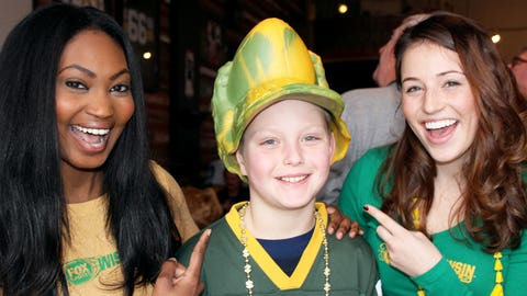 This pint-sized Packer backer shows off a new twist on the Cheesehead.