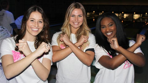 Sti-rike! Bishara, Chyna and Sage had a blast bowling while raising breast cancer awareness with the Bucks.