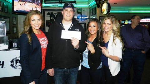 This lucky fan didn't walk away empty handed - he scored tickets to an upcoming Wolves game!