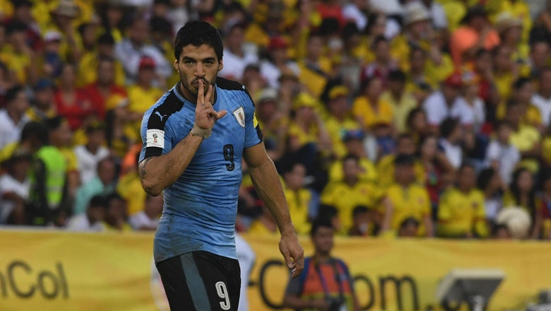 Watch Luis Suarez score from an insanely tight angle against Colombia