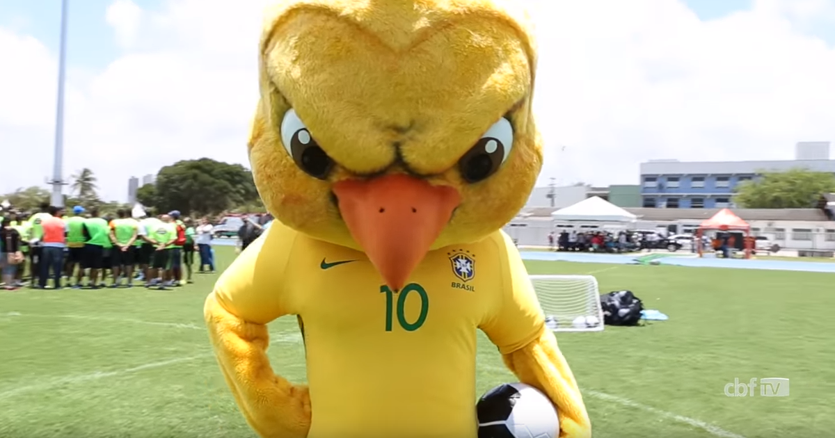 Brazil have a new mascot and he looks like an evil Tweety ...